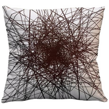 "Infinity Chocolate Multilines 18"" Square Down Throw Pillow"