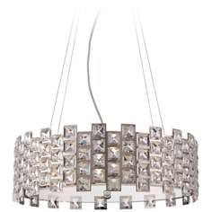 "Possini Euro Squareshine 19"" Wide Crystal Pendant Light"