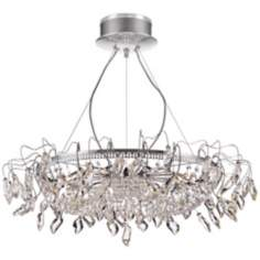 "Alors Chrome 35"" Wide Clear Crystal Chandelier"