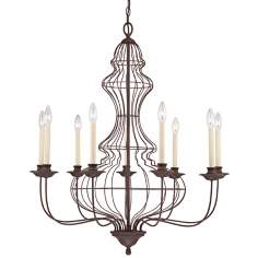 "Quoizel Laila 9-Light 32""W Cage Bronze Chandelier"