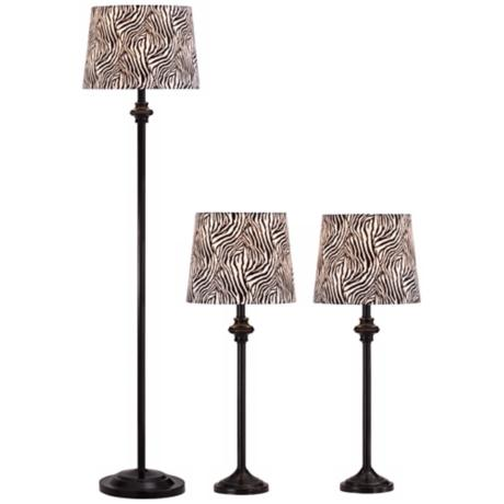Griffith Black Zebra Table Lamps and Floor Lamp Set of 3