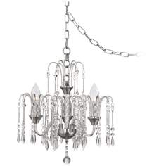 "Crystal Rain 16"" Wide Chrome Swag Chandelier"