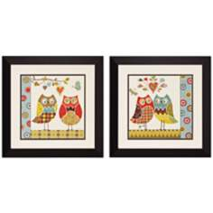 "Set of 2 Owl Wonderful I/II 19"" Square Wall Art"