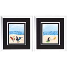 "Beach Dogs I/II 19"" High Set of 2 Wall Art"