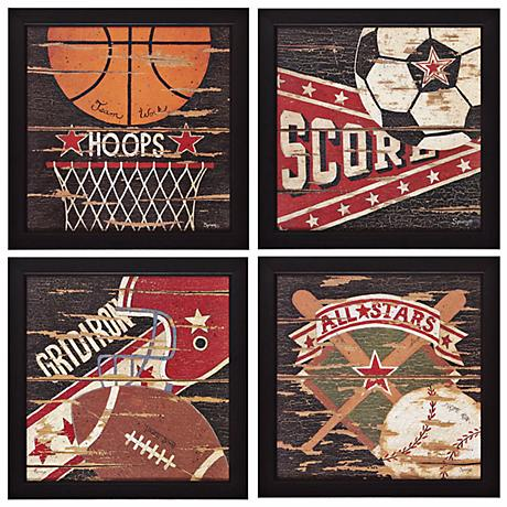 "Set of 4 Sport I/II/III/IV 14"" Square Wall Art"