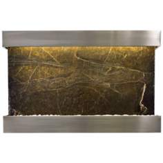 "Quarry Green Marble and Steel 51"" Wide Wall Fountain"