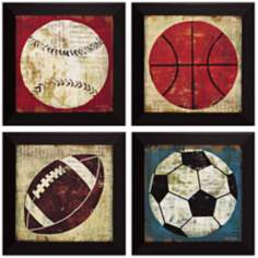 "Set of 4 Ball I/II/III/IV 15"" Square Wall Art"
