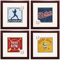 "Set of 4 Baseball 23"" Square Wall Art"