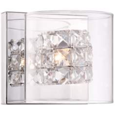 "Possini Euro Vala Crystal 5 1/2"" High Chrome Wall Sconce"