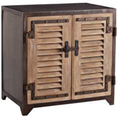 Arteriors Home Lyon Iron and Wood Shutter Cabinet