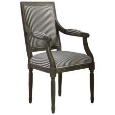 Madison Oak and Brown Striped Fabric Accent Chair