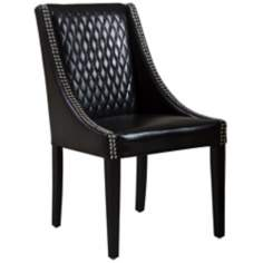 Mandolin Quilted Black Leather Accent Chair
