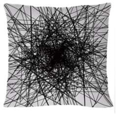 "Infinity Black Multilines 18"" Square Down Throw Pillow"