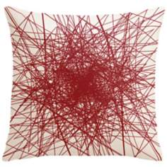 "Infinity Fire Red Multilines 18"" Square Down Throw Pillow"