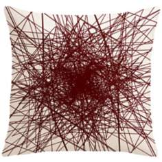 "Infinity Wine Red Multilines 18"" Square Down Throw Pillow"