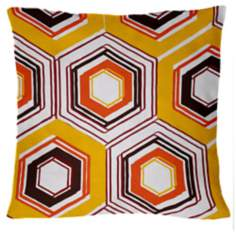 "Infinity Lemon Retro Tile 18"" Square Down Throw Pillow"