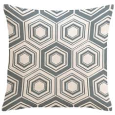 "Infinity Metallic Silver Tile 18"" Square Down Throw Pillow"