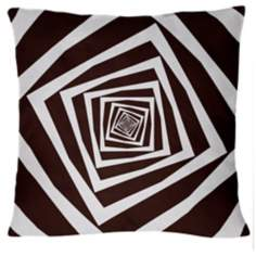 "Infinity Chocolate Squares 18"" Square Down Throw Pillow"