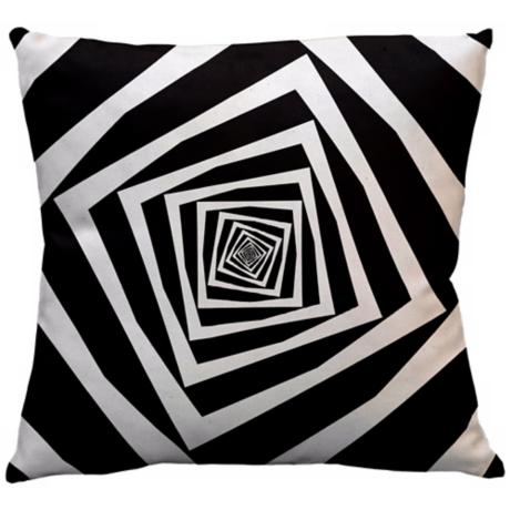 "Infinity Black Squares 18"" Square Down Throw Pillow"