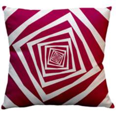 "Infinity Fandango Pink Squares 18"" Square Down Throw Pillow"