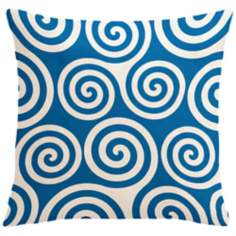 "Rhythm Kagiso Pattern Blue 18"" Square Down Throw Pillow"