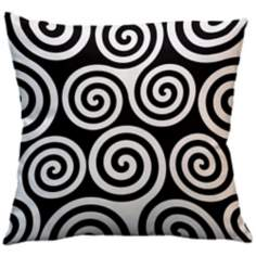 "Rhythm Kagiso Pattern Black 18"" Square Down Throw Pillow"
