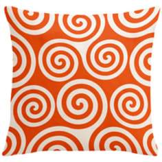 "Rhythm Kagiso Pattern Fire Red 18"" Square Down Throw Pillow"