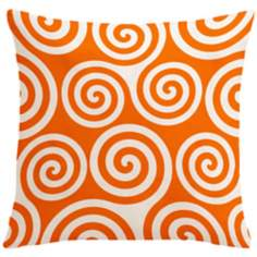 "Rhythm Kagiso Pattern Orange 18"" Square Down Throw Pillow"