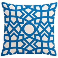 "Saffron Jasmina Bright Blue 18"" Square Down Throw Pillow"