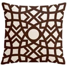 "Saffron Jasmina Chocolate 18"" Square Down Throw Pillow"