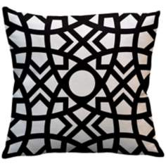 "Saffron Jasmina Black 18"" Square Down Throw Pillow"