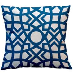 "Saffron Jasmina Ocean Blue 18"" Square Down Throw Pillow"