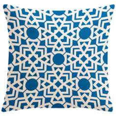 "Saffron Karina Bright Blue 18"" Square Down Throw Pillow"