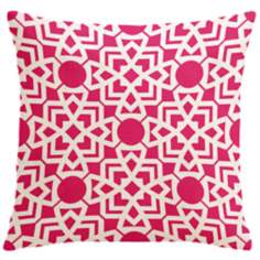 "Saffron Karina Hollywood Pink 18"" Square Down Throw Pillow"