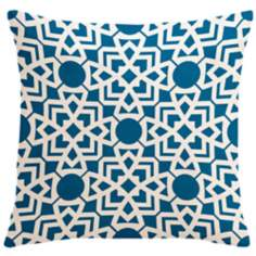 "Saffron Karina Ocean Blue 18"" Square Down Throw Pillow"