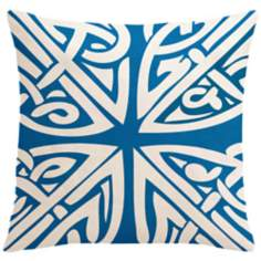 "Saffron Sami Bright Blue 18"" Square Down Throw Pillow"