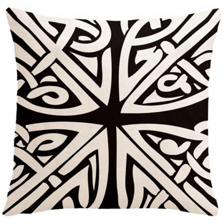 "Saffron Sami Black 18"" Square Down Throw Pillow"