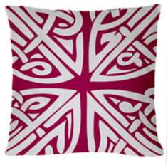 "Saffron Sami Fandango Pink 18"" Square Down Throw Pillow"