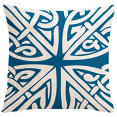 "Saffron Sami Ocean Blue 18"" Square Down Throw Pillow"