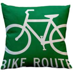 "Street Smart Bike Route 18"" Square Down Throw Pillow"