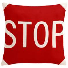 "Street Smart Stop Sign 18"" Square Down Throw Pillow"