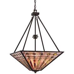 "Quoizel Banks 4-Light 20"" Wide Bronze Pendant Light"