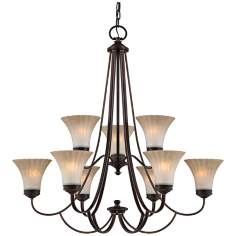"Quoizel Aliza 34 1/2"" Wide 9-Light Bronze Chandelier"