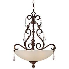 "Iron Leaf 23 1/2"" Wide Bronze Pendant Chandelier"
