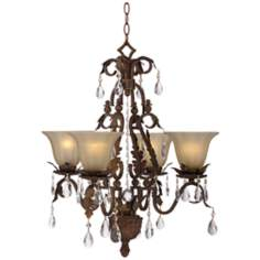 Iron Leaf 4-Light Bronze and Crystal Chandelier