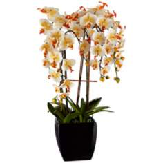 "Potted Black Ceramic 27 3/4"" High Faux Orange Orchid"