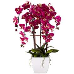 "Potted White Ceramic 12"" High Faux Fuchsia Orchid"
