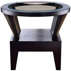 Gracia Round Glass Espresso End Table