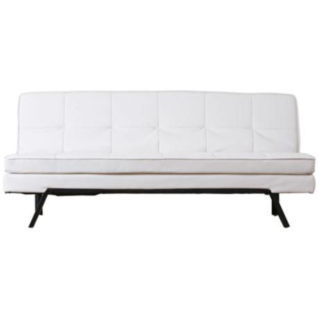 Bayside Leather White Convertible Sofa