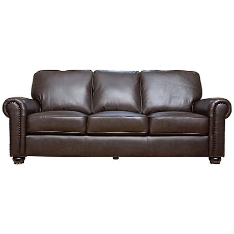 Westwood Crest Rich Dark Brown Leather Sofa
